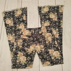 FREE PEOPLE floral flare leg fringed jeans, 25